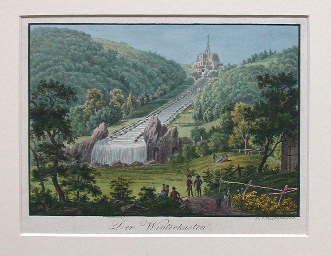 Das Herkules-Bauwerk mit den vorgelagerten Großen Kaskaden während der Wasserspiele (Kupferstich um 1800)#Friedrich Christian Reinermann, Gemeinfrei, https://commons.wikimedia.org/w/index.php?curid=4915081